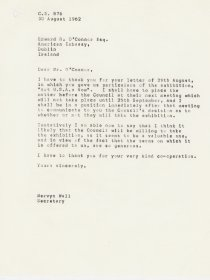 Letter from Mervyn Wall, Secretary to the Arts Council to Edward R. O'Connor of the American Embassy to Ireland. 